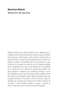 BERENICE ABBOTT SELECCION DE ESCRITOS