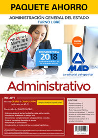 PAQUETE AHORRO T. L. - ADMINISTRATIVO - ADMINISTRACION GENERAL DEL ESTADO - TURNO LIBRE