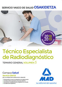 TEMARIO GENERAL 3 - TECNICOS ESPECIALISTAS DE RADIODIAGNOSTICO - OSAKIDETZA 2018 - SERVICIO VASCO DE SALUD