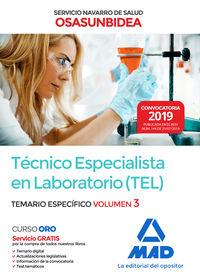 TEMARIO ESPECIFICO 3 - (TEL) TECNICO ESPECIALISTA EN LABORATORIO (OSASUNBIDEA) - SERVICIO NAVARRO DE SALUD