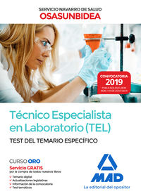Test Del Temario Especifico - (tel) Tecnico Especialista En Laboratorio (osasunbidea) - Servicio Navarro De Salud - Aa. Vv.