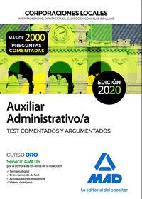 TEST COMENTADOS Y ARGUMENTADOS - AUXILIAR ADMINISTRATIVO DE CORPORACIONES LOCALES