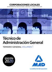 TEMARIO GENERAL 1 - TECNICO DE ADMINISTRACION GENERAL - CORPORACIONES LOCALES