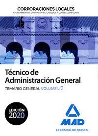 TEMARIO GENERAL 2 - TECNICO DE ADMINISTRACION GENERAL - CORPORACIONES LOCALES