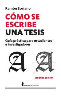 Como Se Escribe Una Tesis - Ramon Soriano