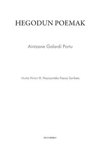 HEGODUN POEMAK (IRUÑA HIRIA III NAZIOARTEKO POESIA SARIKETA)