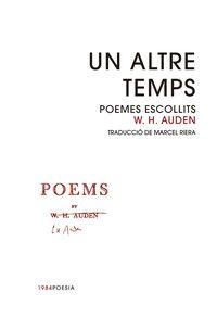 ALTRE TEMPS, UN - POEMES ESCOLLITS DE W. H. AUDEN