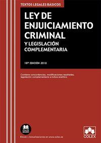 (16 Ed) Ley De Enjuiciamiento Criminal Y Legislacion Complementaria - Aa. Vv.