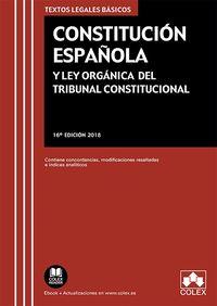 (16 ED) CONSTITUCION ESPAÑOLA Y LEY ORGANICA DEL TRIBUNAL CONSTITUCIONAL