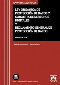 LEY ORGANICA DE PROTECCION DE DATOS PERSONALES Y GARANTIA DE LOS DERECHOS DIGITALES Y REGLAMENTO GENERAL DE PROTECCION DE DATOS
