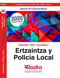 TEMARIO Y TEST 2 - ERTZAINTZA Y POLICIA LOCAL - AGENTES DE LA ESCALA BASICA