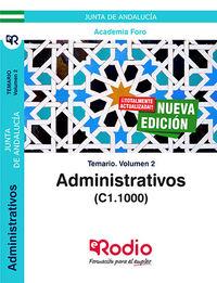 Temario 2 - Administrativos De La Junta De Andalucia (c1.1000) - Aa. Vv.