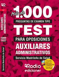 TEST - AUXILIAR ADMINISTRATIVO (SERMAS) - SERVICIO MADRILEÑO DE SALUD - MAS DE 1.000 PREGUNTAS DE EXAMEN TIPO TEST.