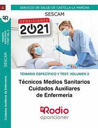 TEMARIO ESPECIFICO Y TEST 2 - TECNICOS MEDIOS SANITARIOS (SESCAM) - CUIDADOS AUXILIARES DE ENFERMERIA - SERVICIO DE SALUD DE CASTILLA LA MANCHA