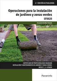 CP - OPERACIONES PARA LA INSTALACION DE JARDINES Y ZONAS VERDES - UF0020