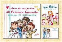 ESTUCHE REGALO MI PRIMERA COMUNION - LIBRO RECUERDOS + BIBLIA + 50 RECORDATORIOS