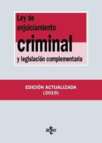 (36 Ed) Ley De Enjuiciamiento Criminal Y Legislacion Complementaria - Aa. Vv.