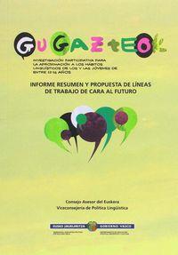 GU GAZTEOK - INFORME RESUMEN Y PROPUESTA DE LINEAS DE TRABAJO DE CARA AL FUTURO = LABURPEN TXOSTENA ETA LAN-ILDOEN PROPOSAMENA AURRERA BEGIRA