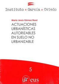 ACTUACIONES URBANISTICAS AUTORIZABLES EN SUELO NO URBANIZABLE