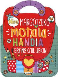 NIRE MARGOTZEKO MOTXILLA HANDIA ERANSKAILUEKIN - NIRE PEGATINA-MOTXILA