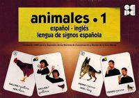 ANIMALES 1 - BARAJA ESPAÑOL-INGLES - LENGUA DE SIGNOS ESPAÑOLA