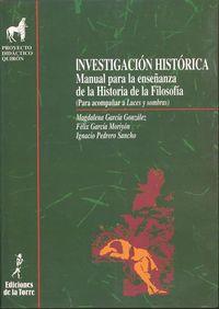 Investigacion Historica - Manual Para La Enseñanza De La Historia De La Filosofia - Magdalena Garcia Gonzalez / Feliz Garcia Moriyon / Ignacio Pedrero Sancho