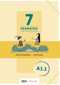 Gramatika Lan-Koadernoa 7 (a1.1) Deklinabidea + Sintaxia - Batzuk