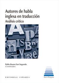 Autores De Habla Inglesa En Traduccion - Analisis Critico - Pablo Ruano San Segundo