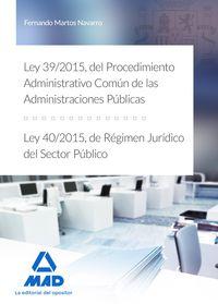 LEY 39 / 2015, DEL PROCEDIMIENTO ADMINISTRATIVO COMUN DE LAS ADMINISTRACIONES PUBLICAS, Y LEY 40 / 2015, DE REGIMEN JURIDICO DEL SECTOR PUBLICO