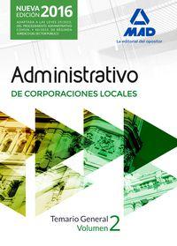 Temario General Ii - Administrativo De Corporaciones Locales - Aa. Vv.