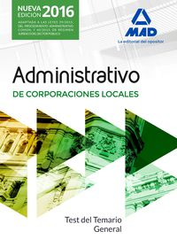Test Temario General - Administrativo De Corporaciones Locales - Aa. Vv.