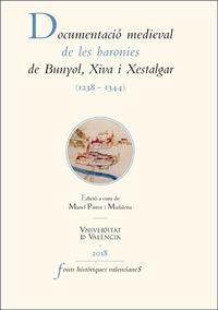 Documentacio Medieval De Les Baronies De Bunyol, Xiva I Xestalgar (1238-1344) - Manel Pastor Madalena (ed. )