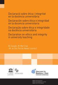 Declaracio Sobre Etica I Integritat En La Docencia Universitaria - Aa. Vv.