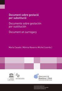 Document Sobre Gestacio Per Sustitucio = Documento Sobre Gestacion Por Sustitucion = Document On Surrogacy - Maria Casado