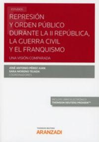 Represion Y Orden Publico Durante La Ii Republica, La Guerra Civil Y El Franquismo (duo) - Jose Antonio Perez Juan / Sara Moreno Tejada