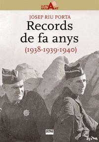 RECORDS DE FA ANYS (1938-1939-1940)