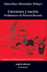 LITERATURA Y NACION - PRELIMINARES DE HISTORIA LITERARIA