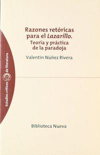 razones retoricas para el lazarillo - teoria y practica de la paradoja - Valentin Nuñez Rivera