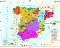 Mapa Murala - Espainia Fisiko Politikoa 121x97 -