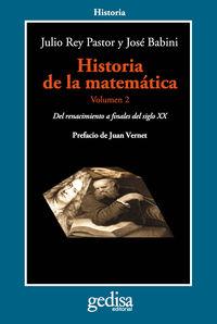 Historia De La Matematica Vol. Ii - Julio  Rey Pastor  /  Jose  Babini