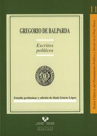 GREGORIO DE BALPARDA - ESCRITOS POLITICOS