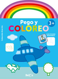 AVION - ARCO IRIS - PEGO Y COLOREO +3