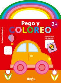 COCHE - ARCO IRIS - PEGO Y COLOREO +2