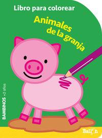 ANIMALES GRANJA - BAMBINOS - LIBROS PARA COLOREAR
